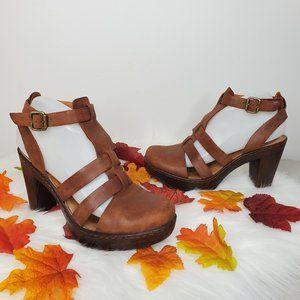 BORN Leather T-Strap Boho Platform Heels *FLAW*